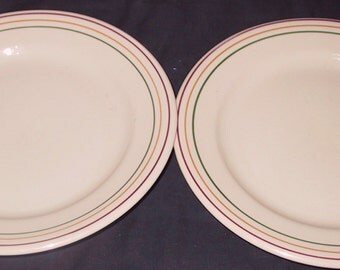 Two Vintage Buffalo China Dinner Plates
