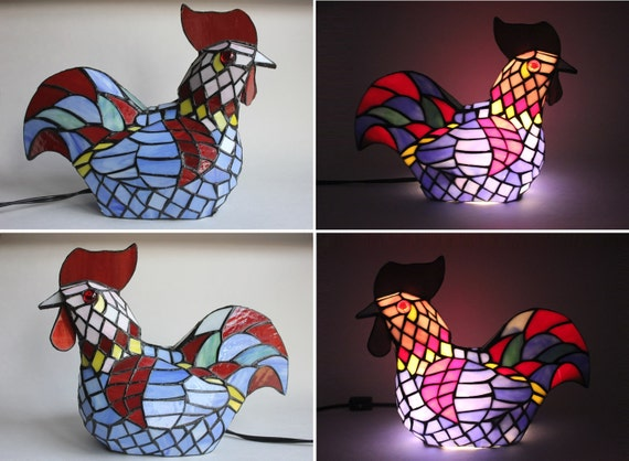 tiffany style stained glass rooster lamp vintage art glass chicken. Black Bedroom Furniture Sets. Home Design Ideas