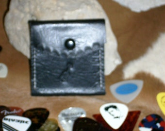 """Guitar Pick Case, Leather, handmade,tooled and stitched. 2 3/4"""" x 2 3/4"""" Black"""