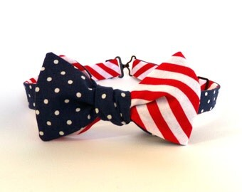 American Flag Bow Tie Self Tie Independence Day Fourth of July Red White Stripe Navy Blue White Polka Dot Freestyle America Bowtie July