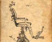 Dentist's Chair Patent Print From 1879 - Patent Art Print - Patent Poster - Dentist Art - Dentist Office - Dentist Gift - Dentist Print