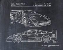 Patent Print of a Ferrari F40 - Patent Art Print - Patent Poster - Car - Auto - Automobile