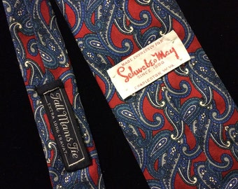1970s Schwabe May Dark Red and Blue Paisley Necktie
