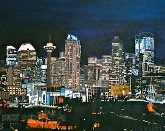 Calgary Alberta City scape Downtown Skyline at Night