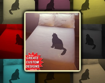 Nap Black Cat Bedding Duvet Cover Queen King Twin Size, Queen Bedding, King Bedding Twin, Kids Queen Duvet Cover, Linen Cotton Sheet Set