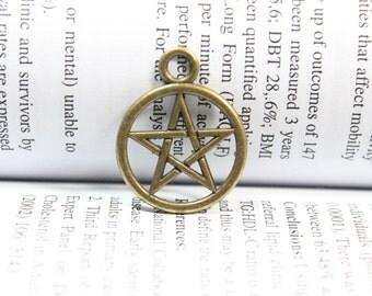 Pentacle Pentagram charms - Antique brass tone  20*25mm