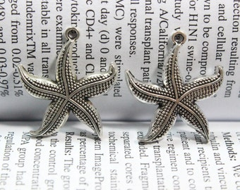 10 pcs Starfish charms 26mm antique silver tone Starfish Charm pendants