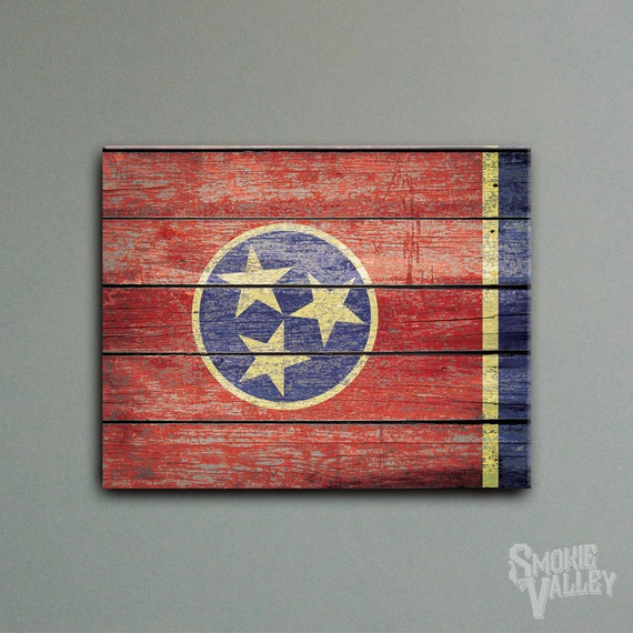 Distressed Tennessee Flag Rustic Flag Decor By SmokieValley
