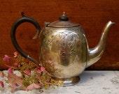 Antique English Sheffield Coffee Pot - Silver Plate - Edwardian Era - Beautiful Heart Shape Etching
