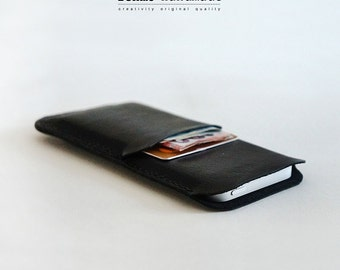Hand-stitched iPhone 6 Leather pouch  Leather Sleeve Leather iPhone case soft wallet