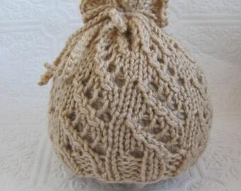 Pretty Lace Sack Hat - Knitting Pattern - Newborn