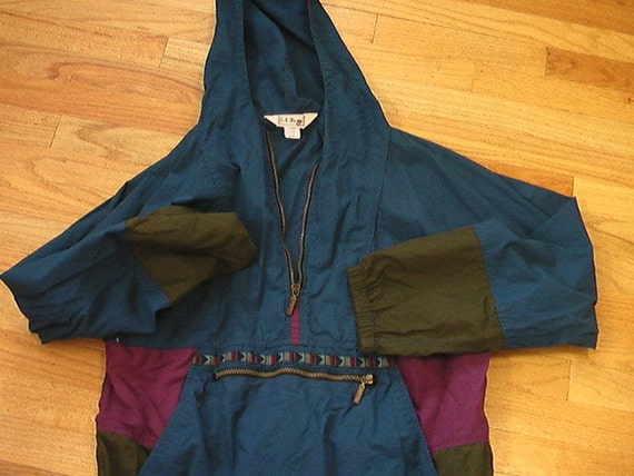 vintage ll bean anorak jacket mens m fits womens l teal plum