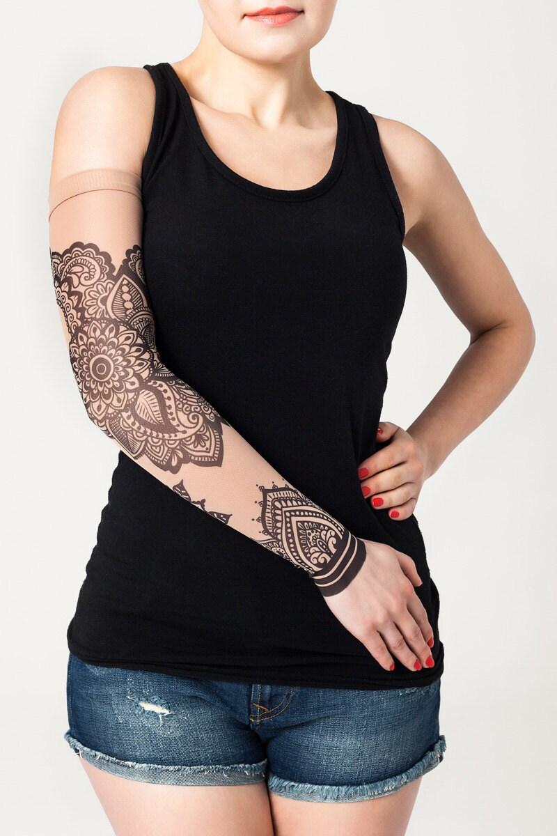 unisex mandala ornament mesh tattoo sleeve temporary tattoo. Black Bedroom Furniture Sets. Home Design Ideas