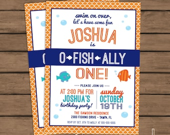 O-Fish-Ally One Birthday Party Invitation - Fish Birthday - First Birthday- 1st Birthday - Blue - Fishing - Custom - Printable - DIY