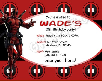 Deadpool Birthday Invitation - Printable