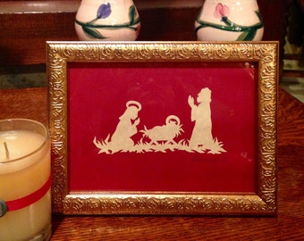 "Nativity Family, Handmade Original Paper Cutting Scherenschnitte, Antiqued Parchment, fits 5x7"" frame"