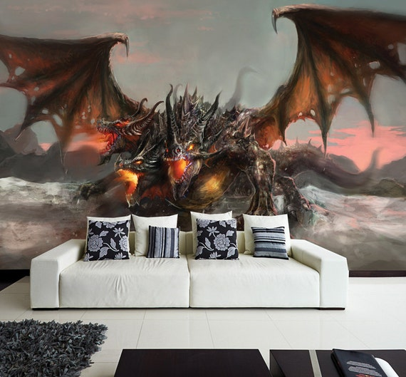 Wall mural photo wall decal self adhesive vinyl by - Dragon decorations for a home ...