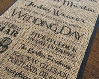 Burlap Wedding Invitation,Rustic Wedding Invitation,Shabby Chic Wedding Invitation, Rustic Chic Wedding Invitation, Rustic Burlap Wedding