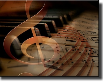 Music Notes Piano Picture Made on Stretched Canvas, Wall Art Decor Ready to Hang.