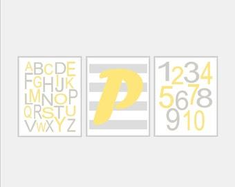 Yellow and Grey Nursery Art - Baby Boy Nursery Print - Baby Boy Nursery Art Monogram Art - Gray and Yellow Nursery Alphabet Art. Choose Size