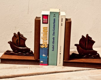 2 bookends ships Antique bookcase 40s Germany