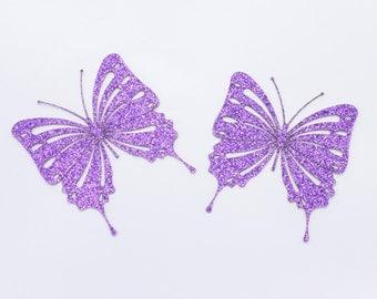 Purple Glittery Butterfly Embellishment / Card Topper - 2 Pack