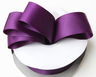 Dark purple satin ribbon Plum Satin Ribbon - Aubergine sutine ribbon - eggplant satin ribbon