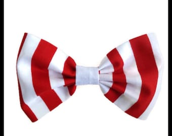 "Fabric Hair Bow 5"" Red White Stripe Girls Teens Womens"