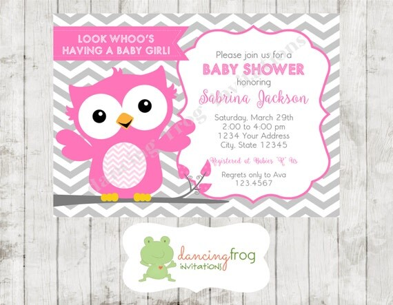 pink and grey chevron owl baby shower invitations printed owl baby