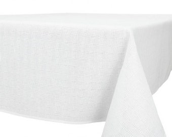 White Woven Linen Cotton Tablecloth 200cmx150cm