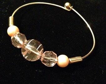 Single Gold Beaded Bangle Bracelet