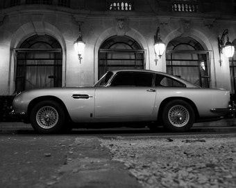 Poster of Aston Martin DB5 Left Side HD BW Print
