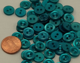 """Lot of 24 Small Teal Blue Pearlized Plastic Sew-through Buttons 7/16"""" 11mm # 6522"""