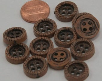 "Lot of 12 Brown Plastic Buttons Wood Grain Look 5/8"" 15mm # 6536"