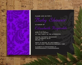 Purple Damask Baby Shower Invitation Template| Girl Baby Shower Invitations | Boy Baby Shower Invites | Printable, Digital PDF, DIY Printed