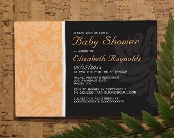 Peach Damask Baby Shower Invitation Template| Girl Baby Shower Invitations | Boy Baby Shower Invites | Printable, Digital PDF, DIY Printed