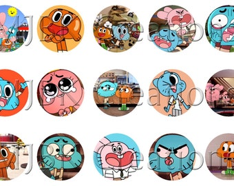 "The Amazing World of Gumball 1"" Bottle Cap Images - 4x6 Digital Collage Sheet - Instant Download"
