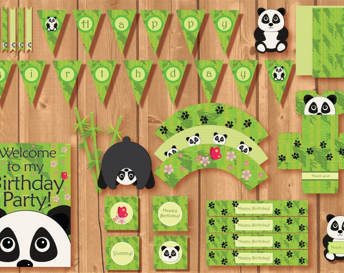Panda Party Package. Instant download. Printable. Matching Custom invitation available!