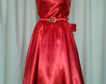 Vintage inspired red satin party dress size 12 and 14