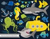 Submarine Clip Art Commercial Download Clipart Shark Ocean Fish Octopus Seahorse Anchor Jellyfish sea Ocean animals boy birthday invitation