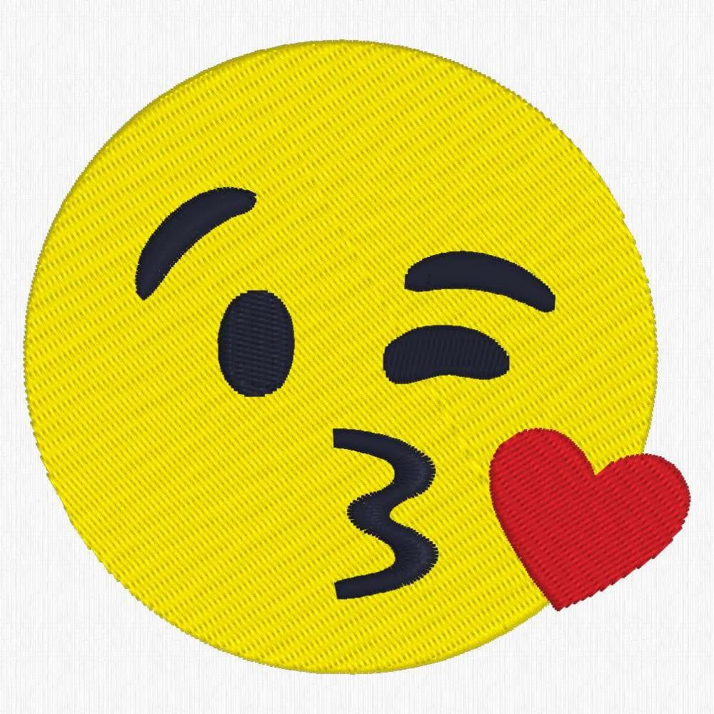 Smooch Emoji Machine Embroidery Design Kiss Emoji From EmbroideryBytes On Etsy Studio