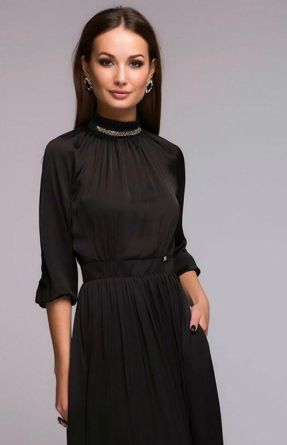 Items similar to Black Floor Length Dress,Formal Dress ...
