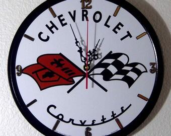 Chevrolet Corvette Sign Wall Clock - 11.75'' Diameter - New