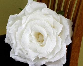 Giant Crepe Paper Rose, Large White Rose, Big Paper Flower, Wedding Rose, Black and White Decoration, Black and White Wedding Flowers,