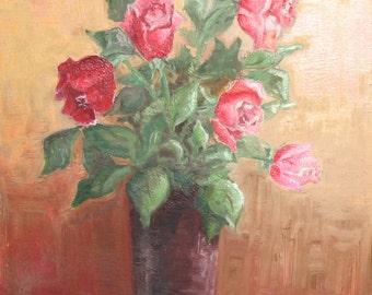 1983 Bulgarian art roses still life vintage oil painting signed