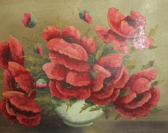 Antique still life poppy flowers oil painting
