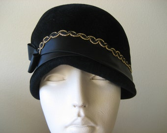 1960's Modern Missy Black Velvet Pillbox Hat With Satin Bow And Gold Trim