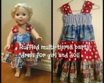 "MADE TO ORDER: Boutique style, Ruffled, Multi-tiered party dress for your special girl and her 18"" doll."