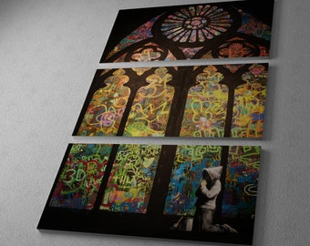 """Banksy Stained Glass Cathedral. Gallery Wrapped Canvas Triptych Print 48""""x30"""""""