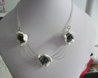 Polymer Clay Roses, Beading Thread and Silver Plated 15.5 Chain Necklace.